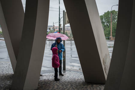 Rainy Day & Pink Umbrella · Under the Dancing House (Fred & Ginger) · Prague · 2013